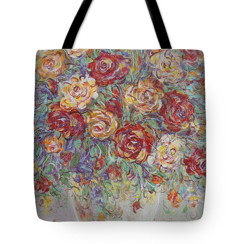 Flowers Tote Bag featuring the painting Double Delight. by Natalie Holland