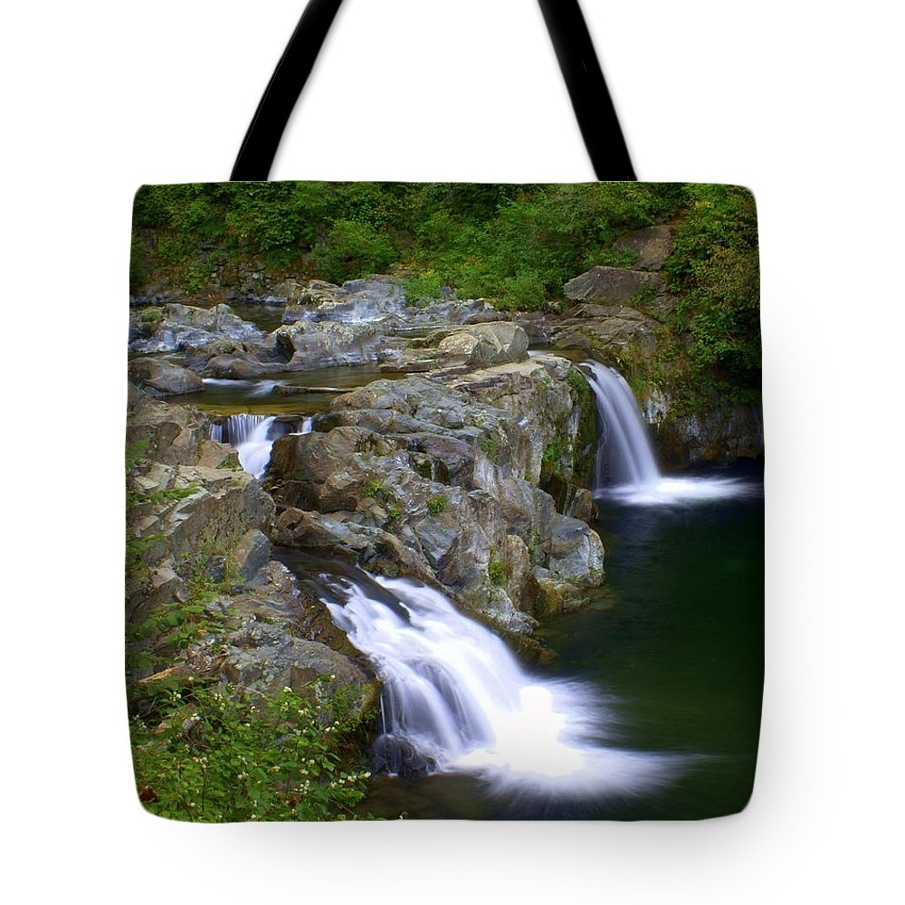 Waterfalls Tote Bag featuring the photograph Double Falls by Marty Koch