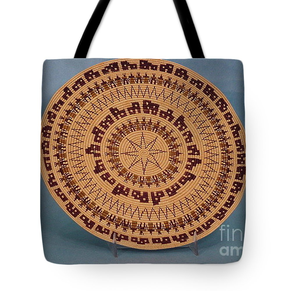 Basket Tote Bag featuring the tapestry - textile Double Friendship Plate Basket by Darlene Ryer