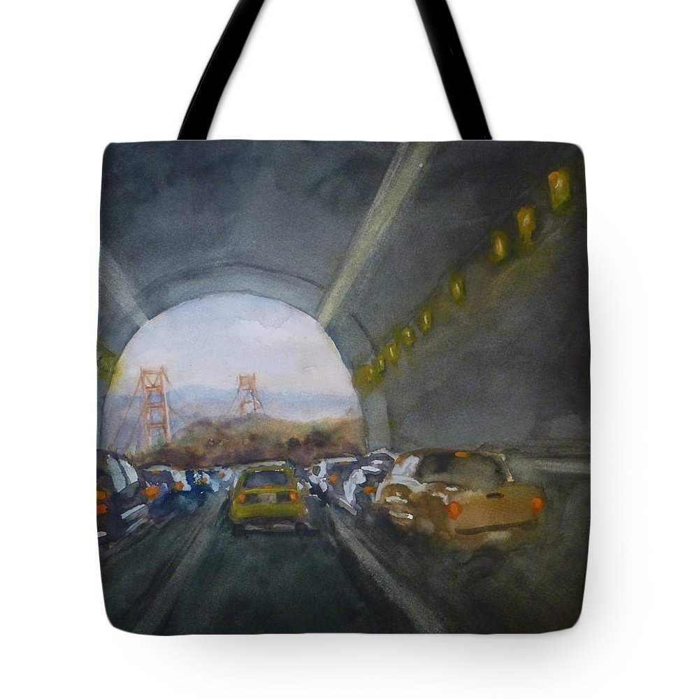 San Francisco Tote Bag featuring the painting Double Landscape San Francisco by Robert Tiefenwerth