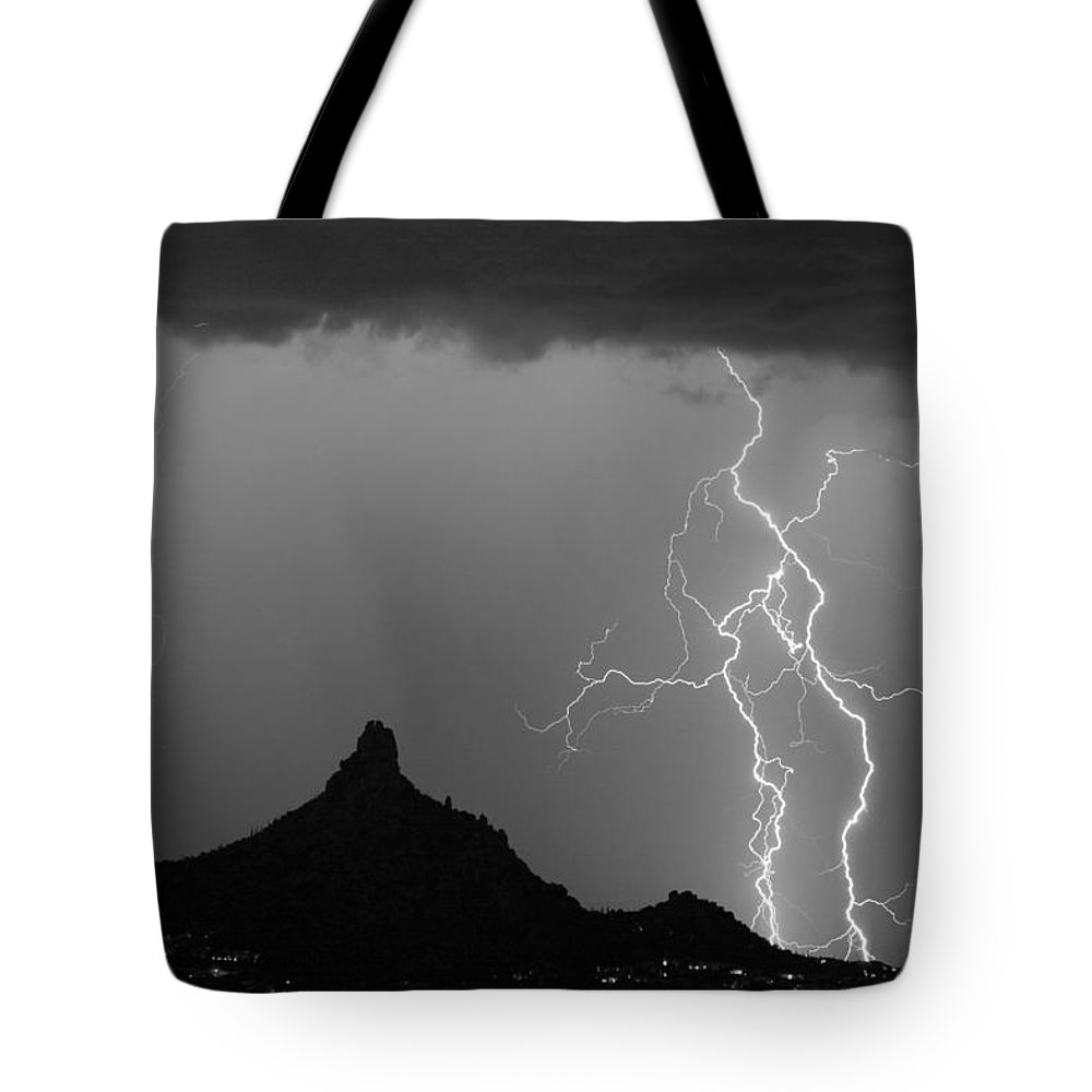 Arizona Tote Bag featuring the photograph Double Lightning Pinnacle Peak Bw Fine Art Print by James BO Insogna