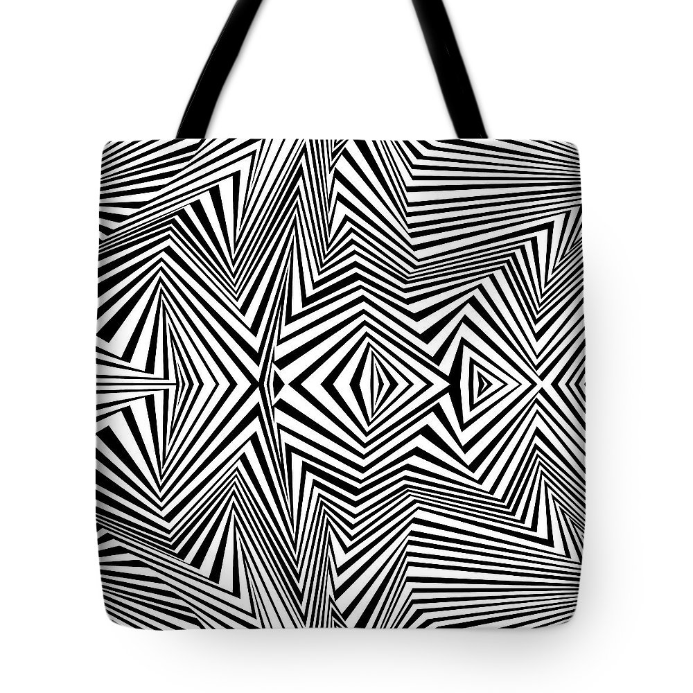 Dynamic Black And White Tote Bag featuring the painting Double Punch by Douglas Christian Larsen