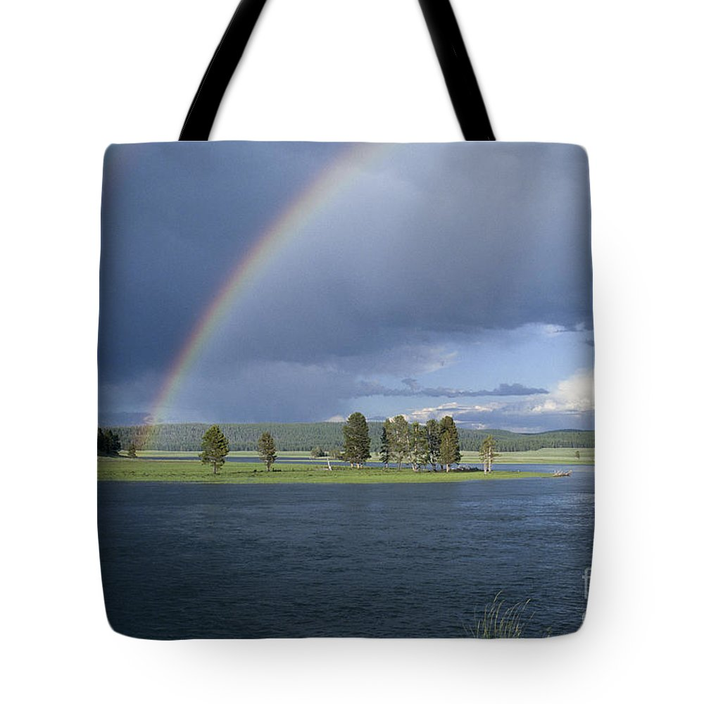 Yellowstone Tote Bag featuring the photograph Double Rainbow At Alum Creek by Sandra Bronstein