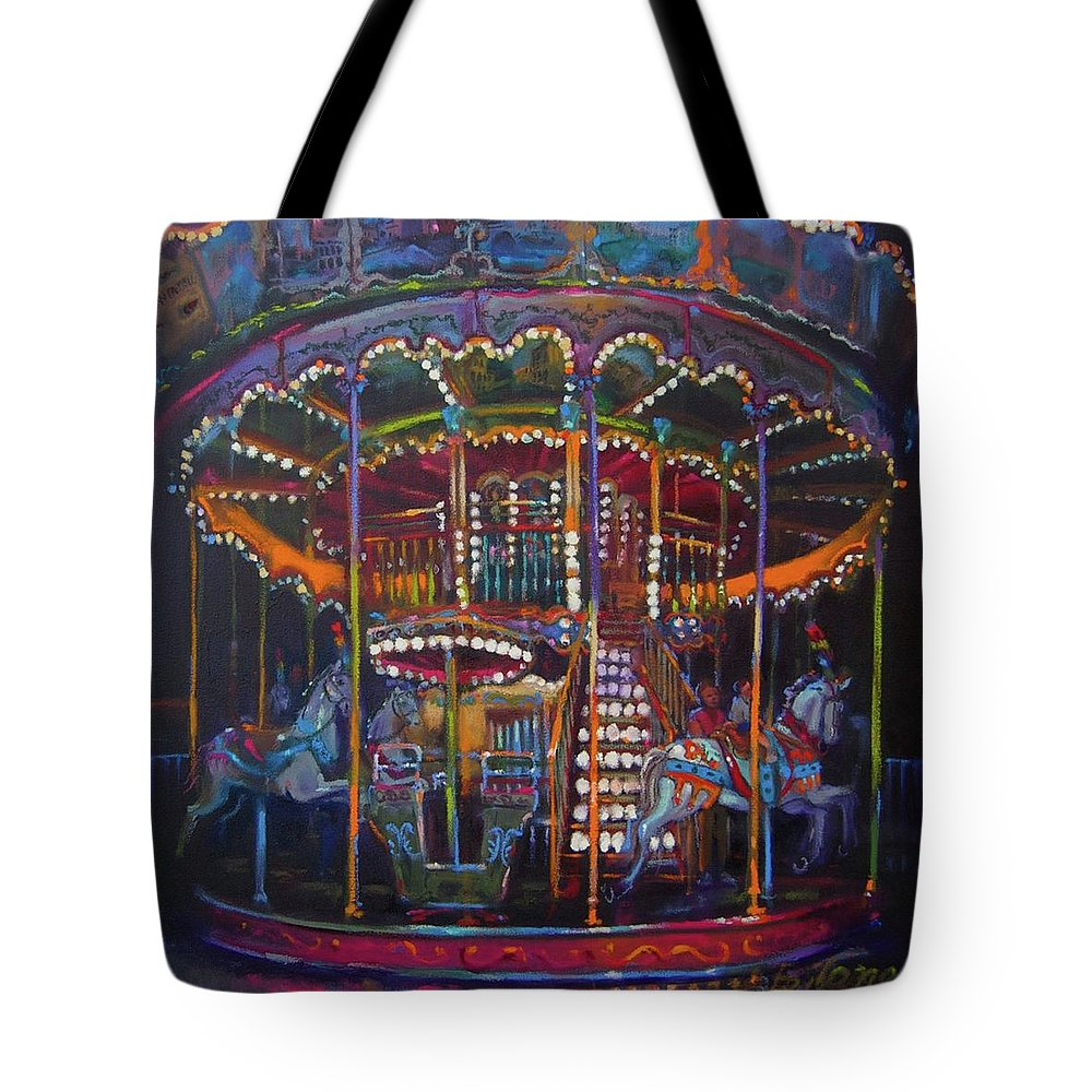 Merry-go-round Tote Bag featuring the painting Double The Pleasure by BJ Lane