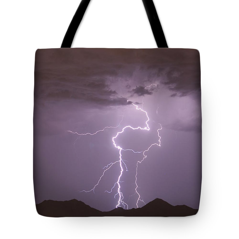 Lightning Tote Bag featuring the photograph Double Trouble Fine Art Lightning Photography by James BO Insogna