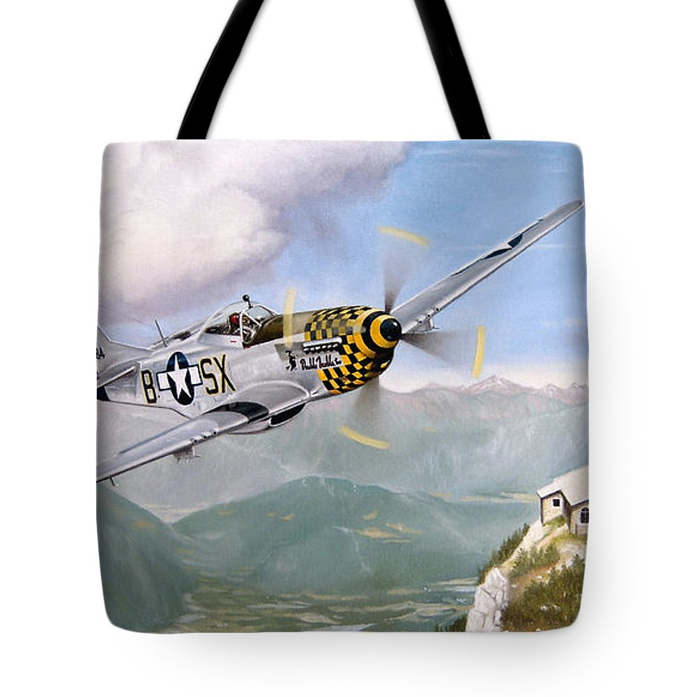 Military Tote Bag featuring the painting Double Trouble Over The Eagle by Marc Stewart