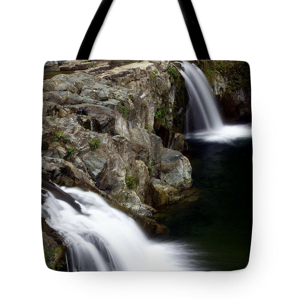 Waterfalls Tote Bag featuring the photograph Double Twin by Marty Koch