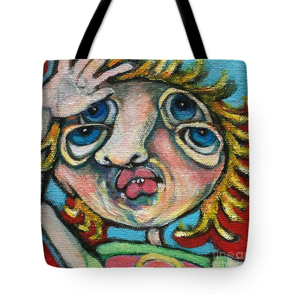 Circle Head Art Tote Bag featuring the painting Double Vision by Michelle Spiziri