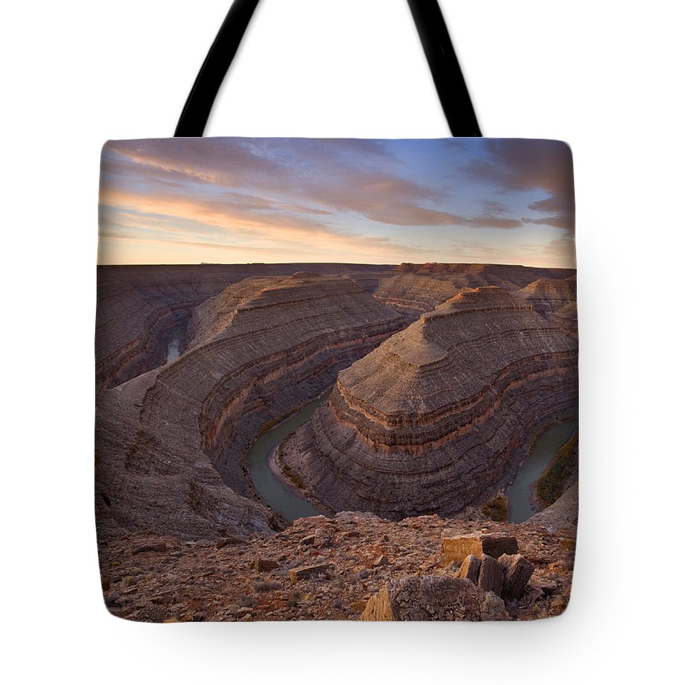 Goosenecks State Park Tote Bag featuring the photograph Doubleback by Mike Dawson