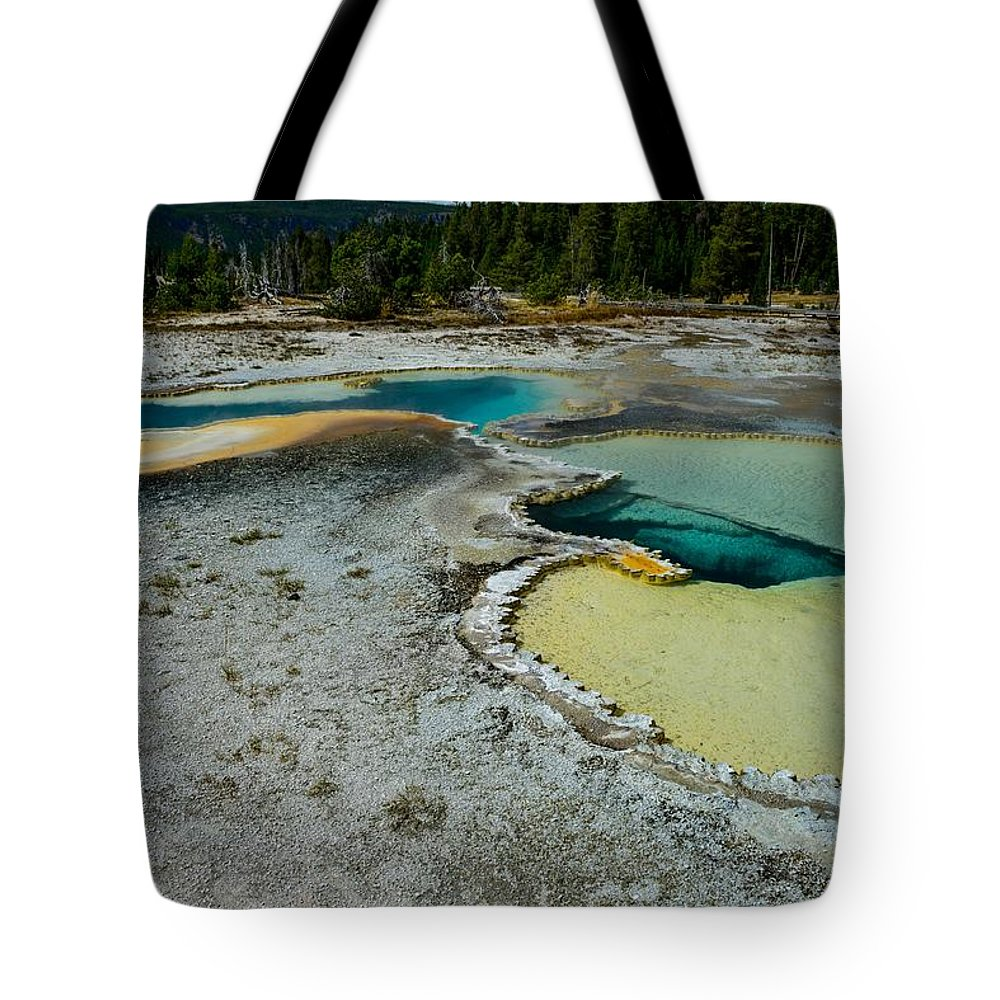 Yellowstone Tote Bag featuring the photograph Doublet Pool Hot Spring In Yellowstone by Marilyn Burton