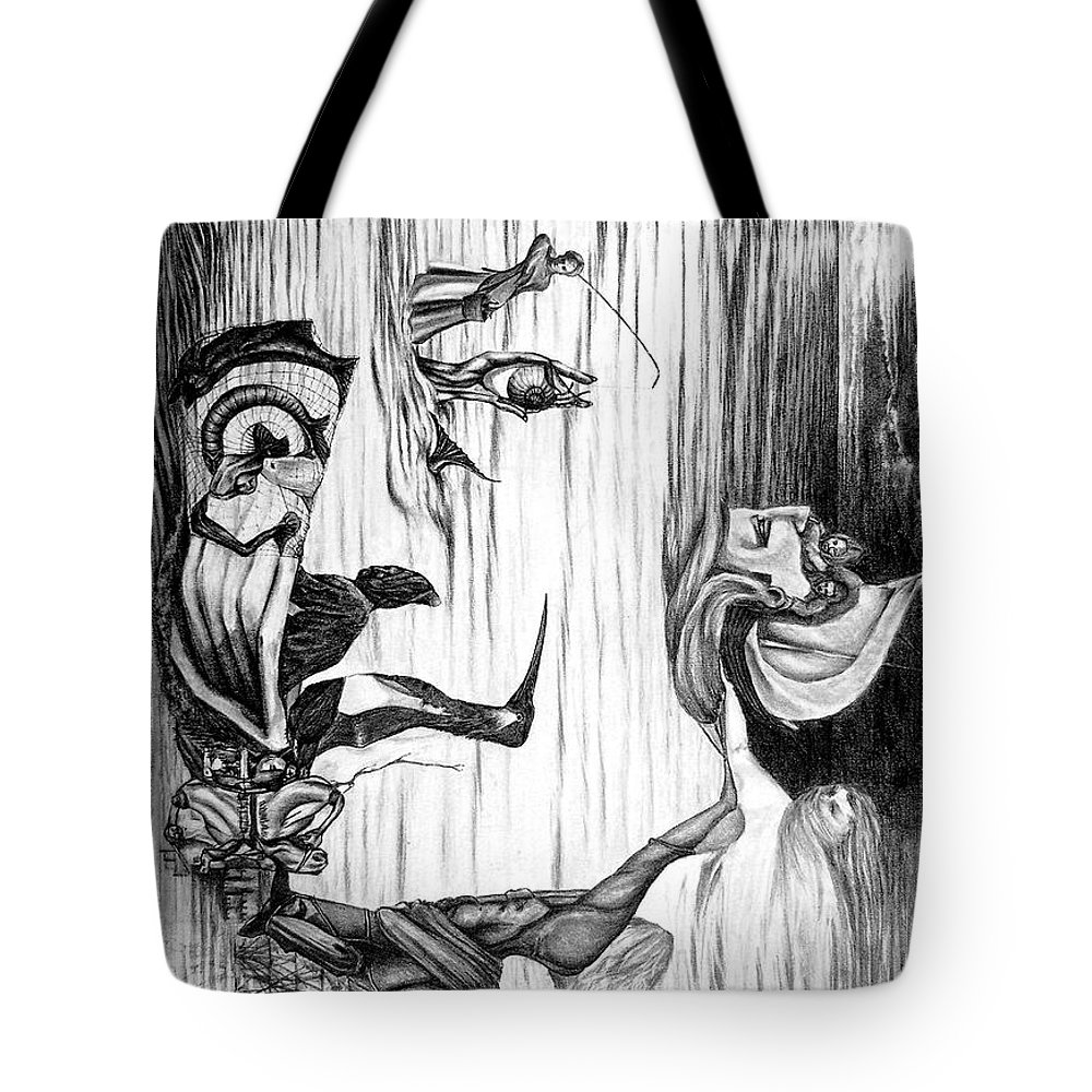 Salvador Dali Tote Bag featuring the drawing Doubly reversible portrait of Salvador Dali by Richard Meric