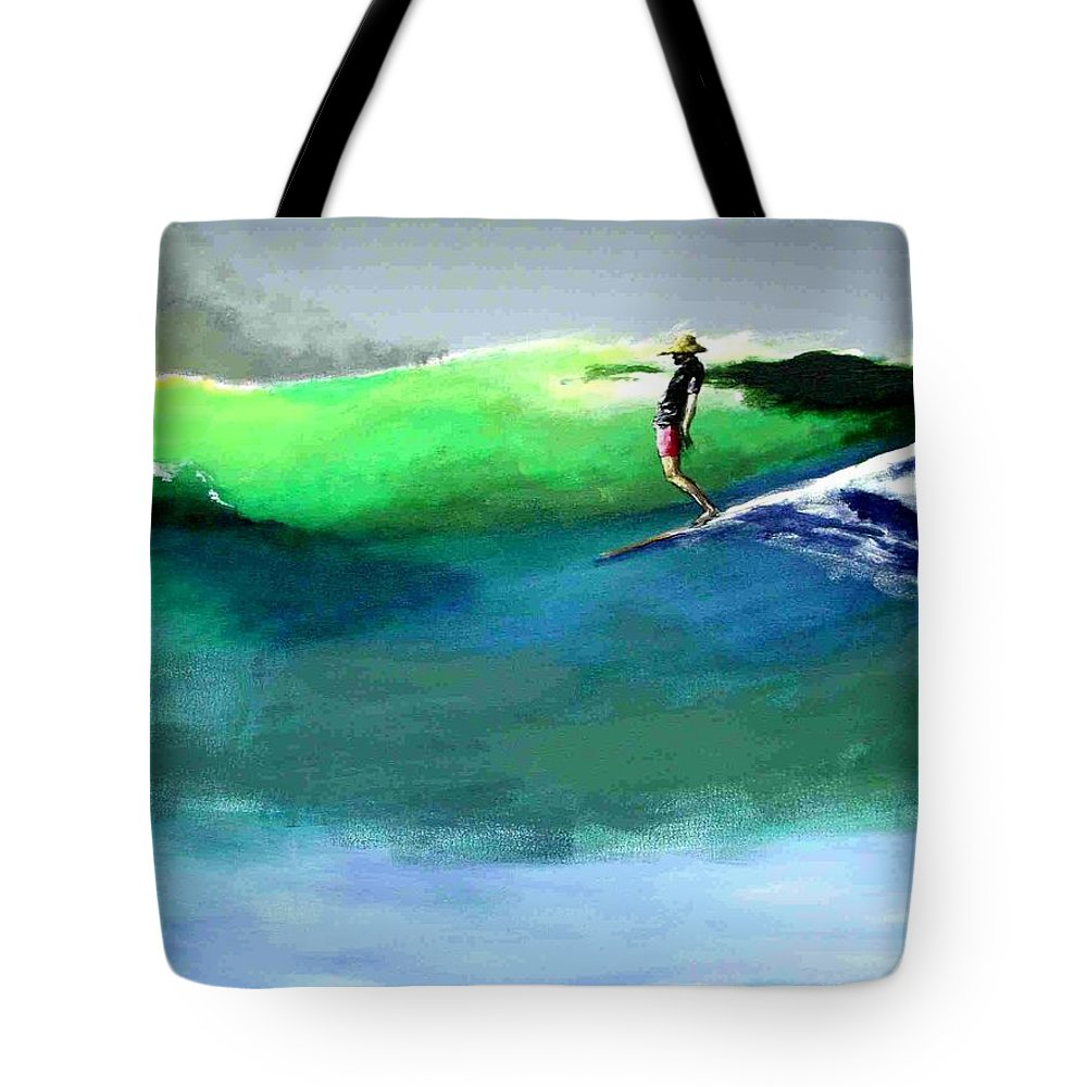 Surf Tote Bag featuring the painting Doug Working Late Off Encinitas by Paul Miller