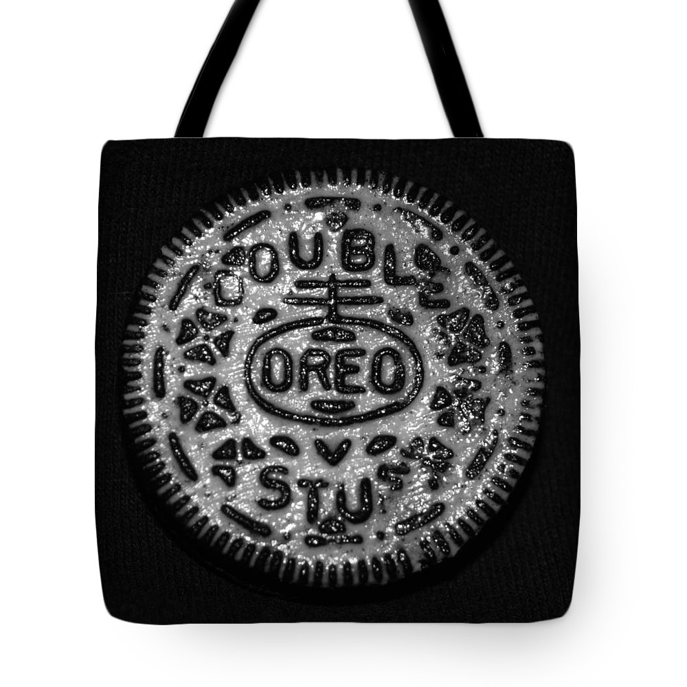 Oreo Tote Bag featuring the photograph Doulble Stuff Oreo In Black And White by Rob Hans