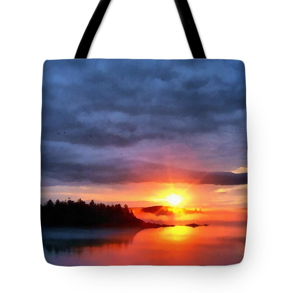 Maine Tote Bag featuring the painting Down East Sunset Maine by Edward Fielding