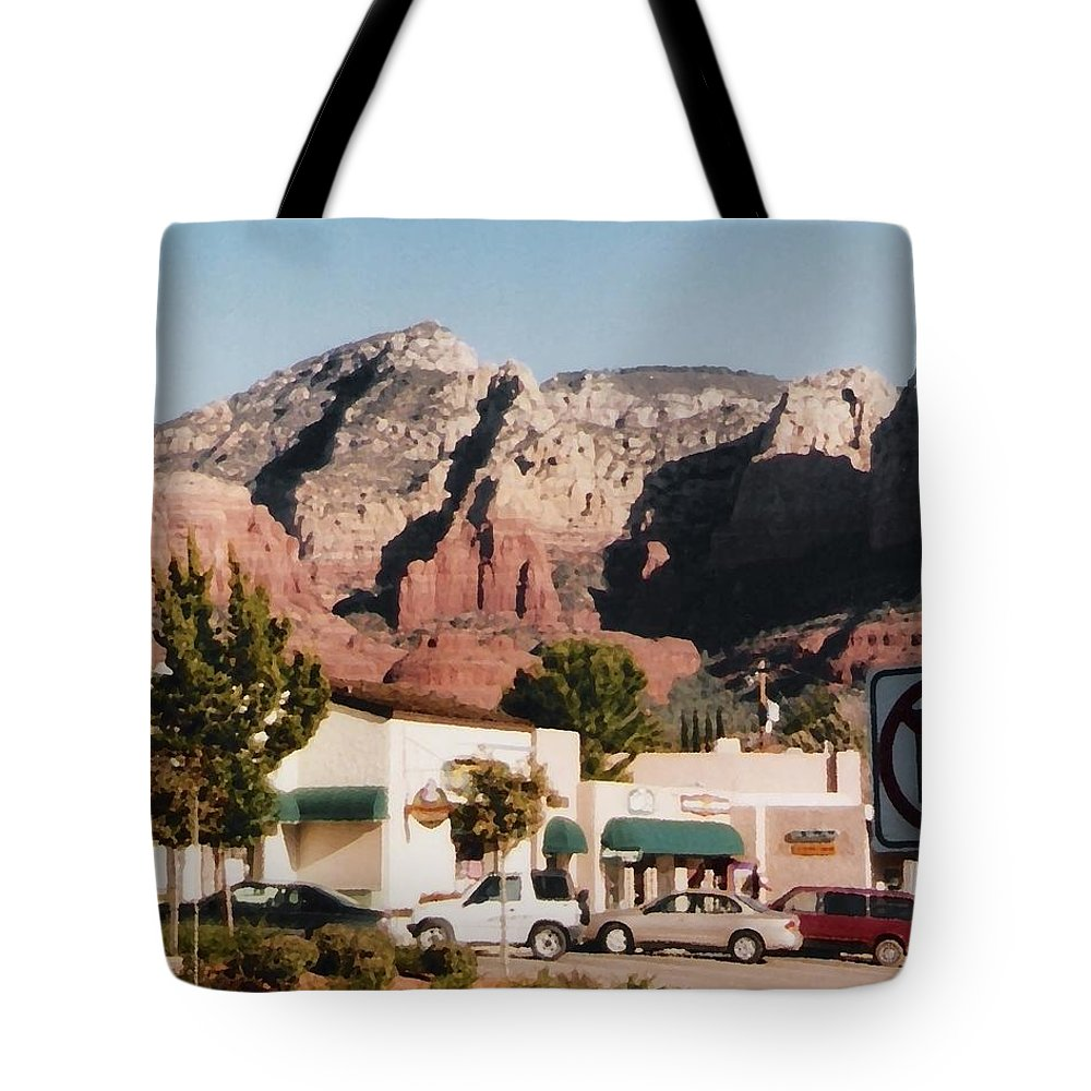 Sedona Tote Bag featuring the mixed media Down In Sedona by Pharris Art