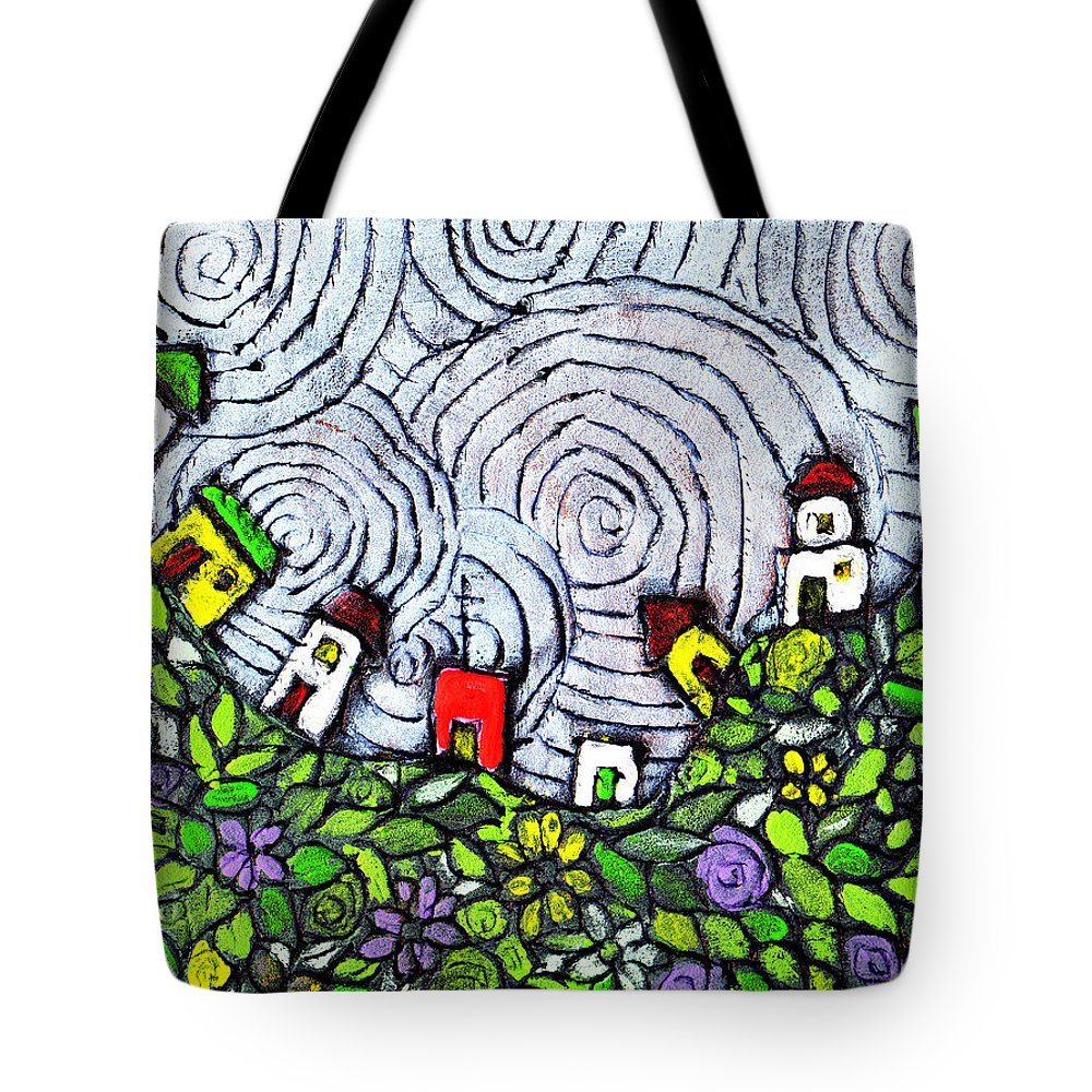 Folk Art Tote Bag featuring the painting Down In The Valley by Wayne Potrafka
