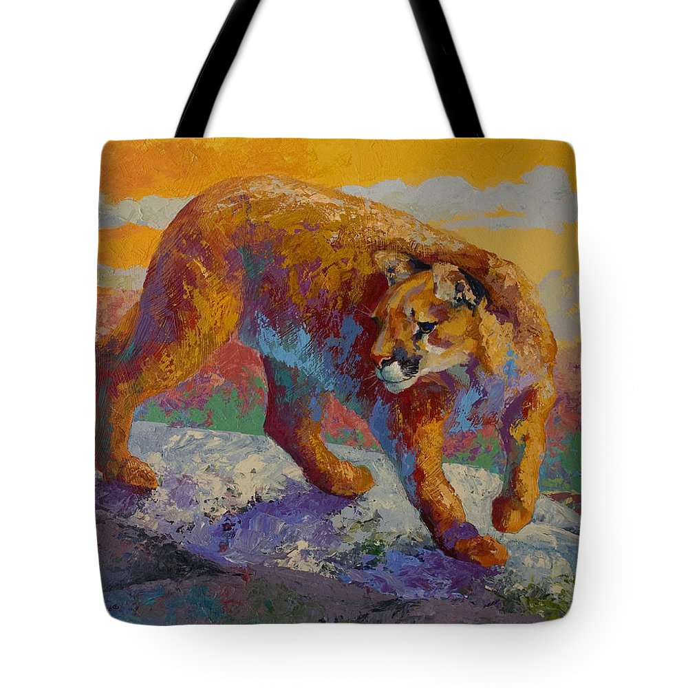 Mountain Lion Tote Bag featuring the painting Down Off The Ridge - Cougar by Marion Rose