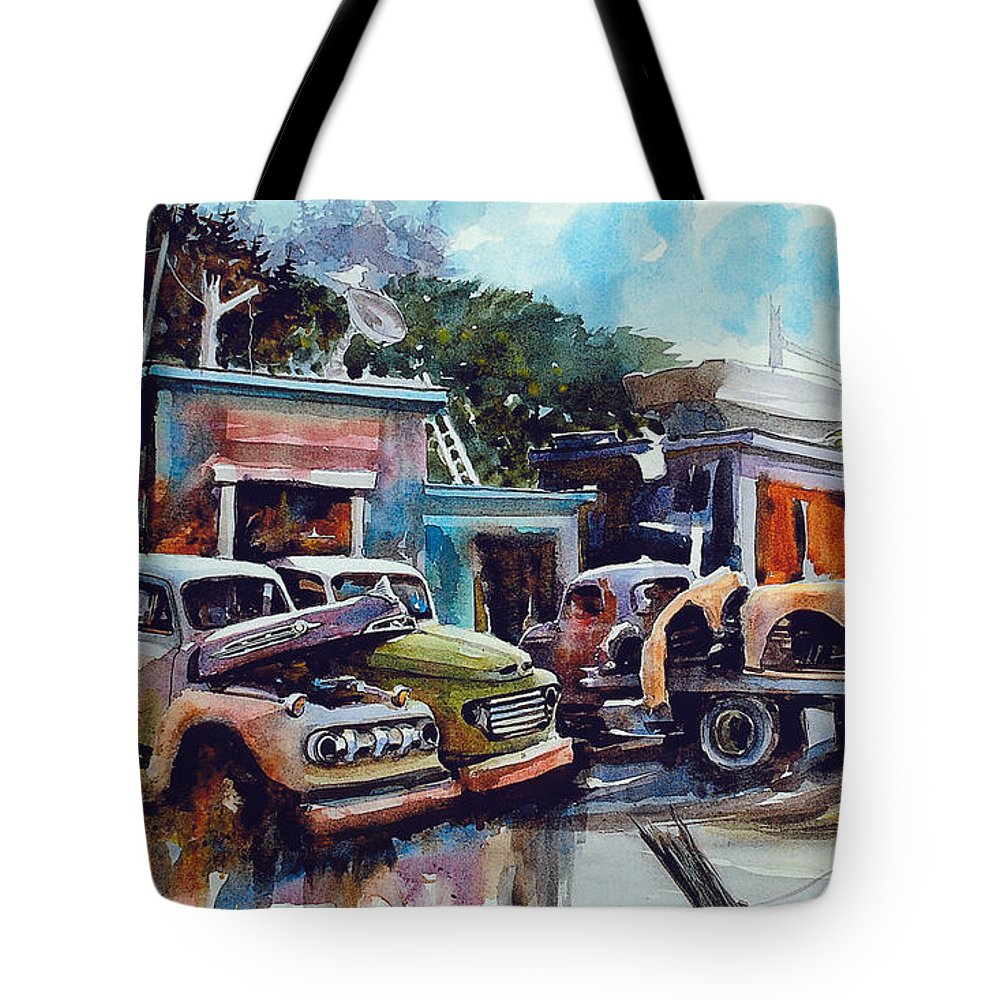 Trucks Tote Bag featuring the painting Down on the Lower Road by Ron Morrison