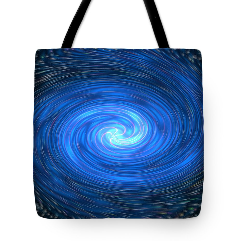 Bubbles Colorful Colourful Abstract Spinning Blue Black Yellow Purple Pink Green Tote Bag featuring the digital art Down The Drain by Andrea Lawrence