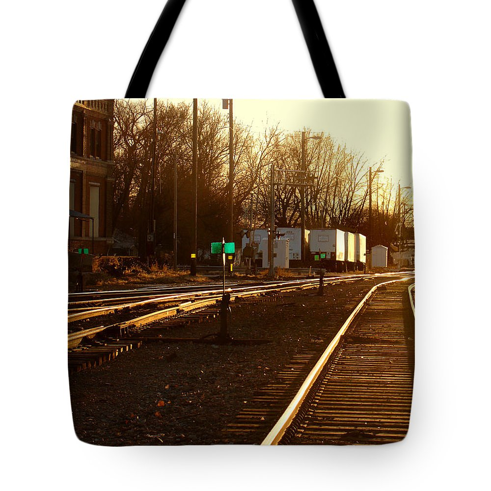 Landscape Tote Bag featuring the photograph Down The Right Track by Steve Karol