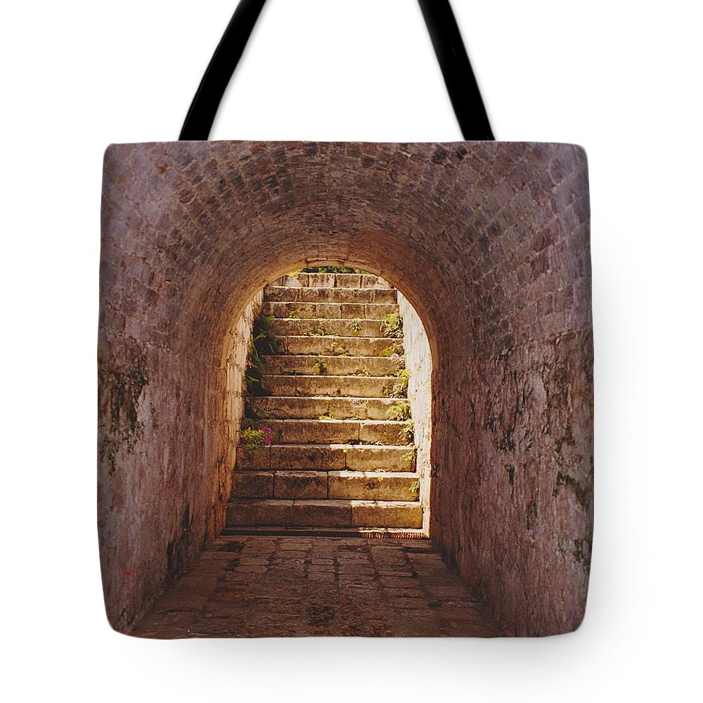 Brick Tote Bag featuring the photograph Down To The Cellar by Michelle Powell