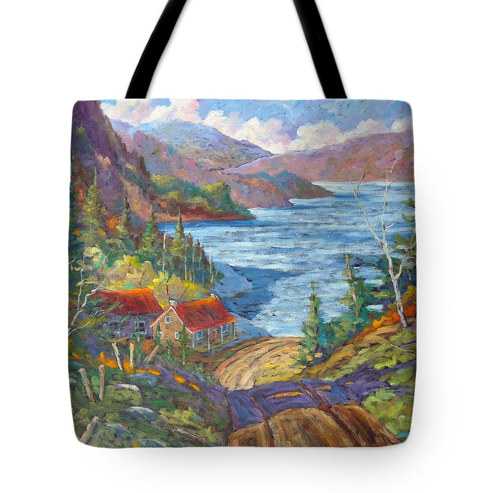 Landscape Tote Bag featuring the painting Down To The Lake by Richard T Pranke