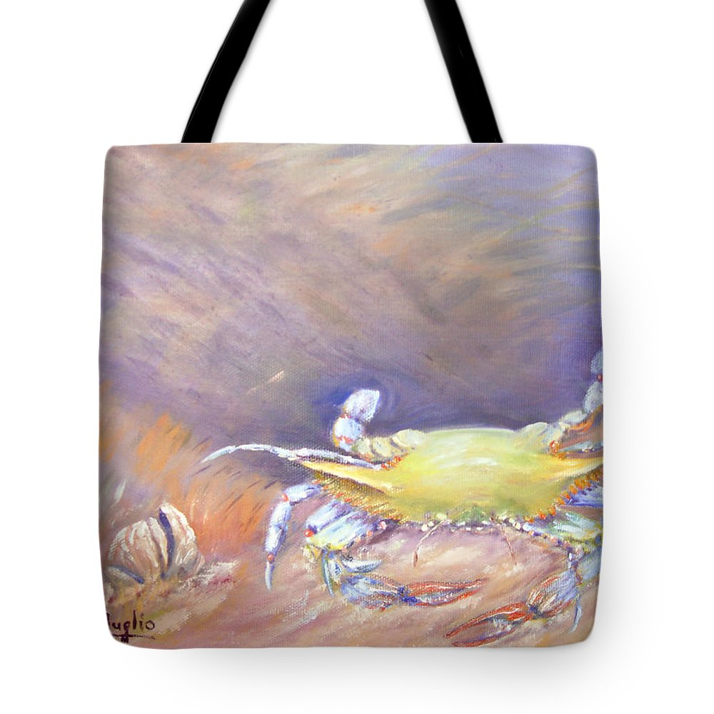 Blue Crab Tote Bag featuring the painting Down Under by Loretta Luglio
