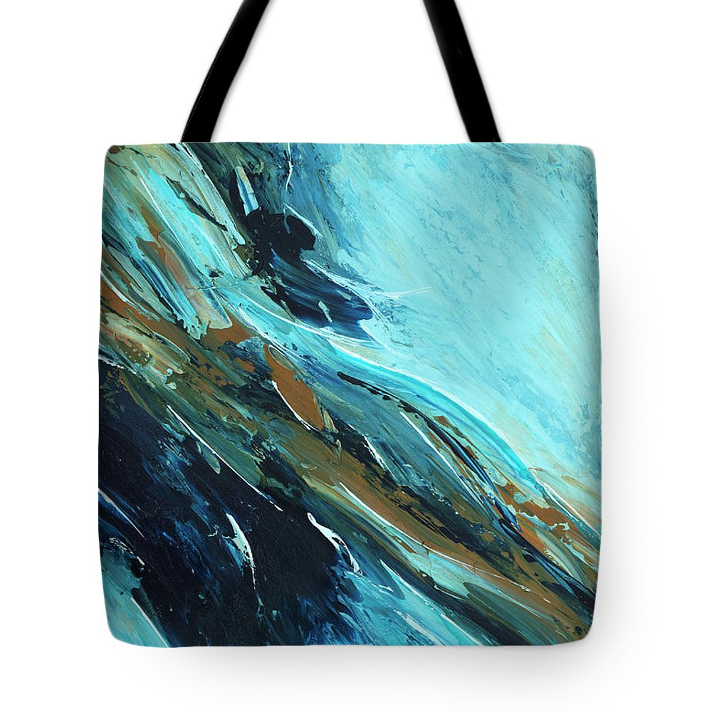 Abstract Tote Bag featuring the painting Downhill Slide by K Batson Art