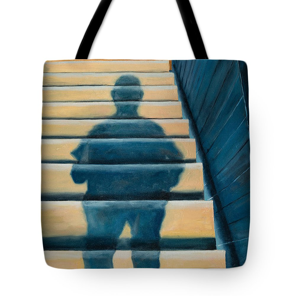 Shadow Tote Bag featuring the painting Downstairs by Break The Silhouette