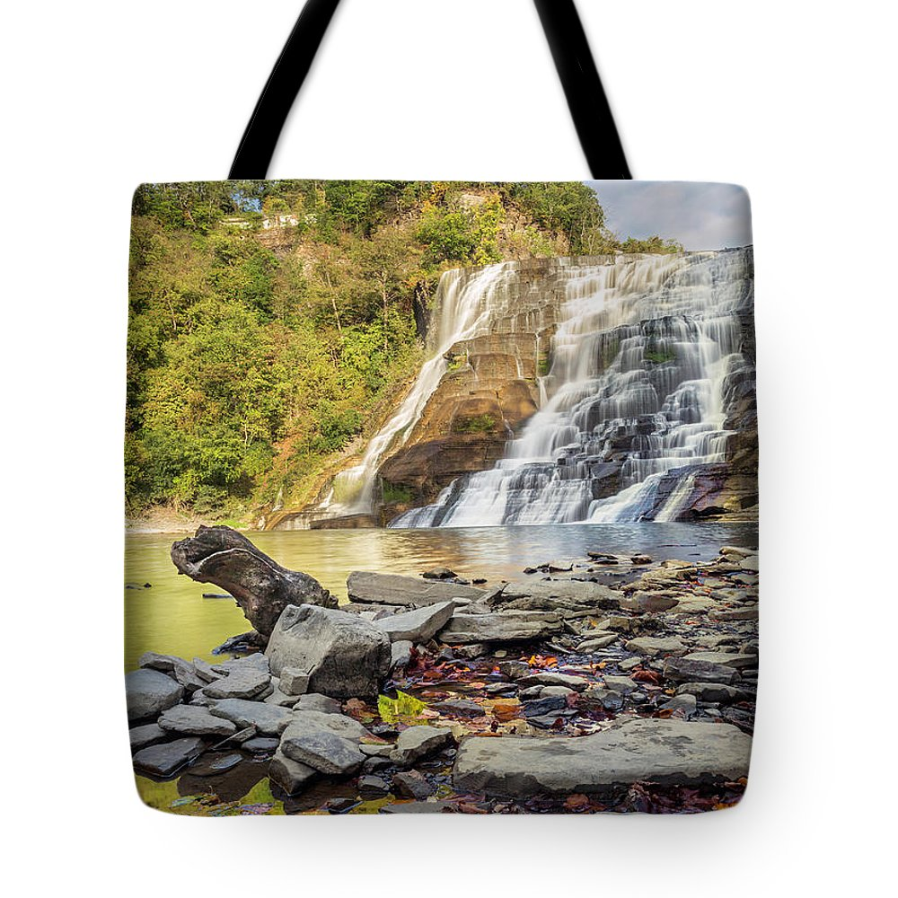 New York Tote Bag featuring the photograph Downstream From Ithaca Falls by Karen Jorstad