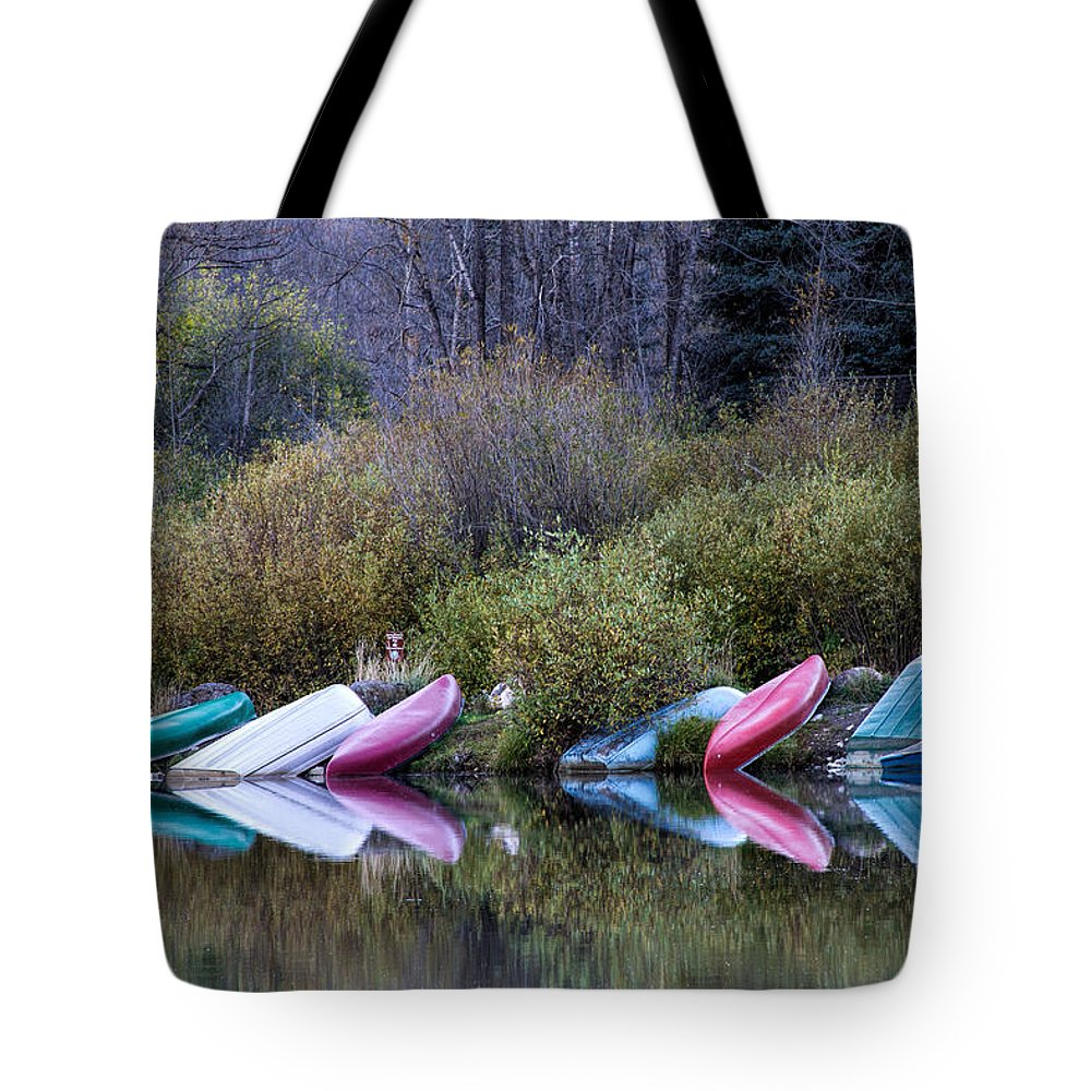 Row Boat Tote Bag featuring the photograph Downtime at Beaver Lake by Alana Thrower