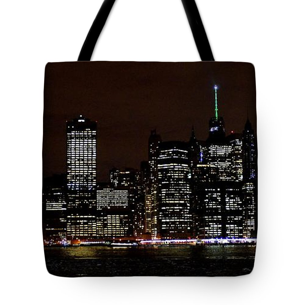 Freedom Tote Bag featuring the photograph Downtown At Night by John Wall