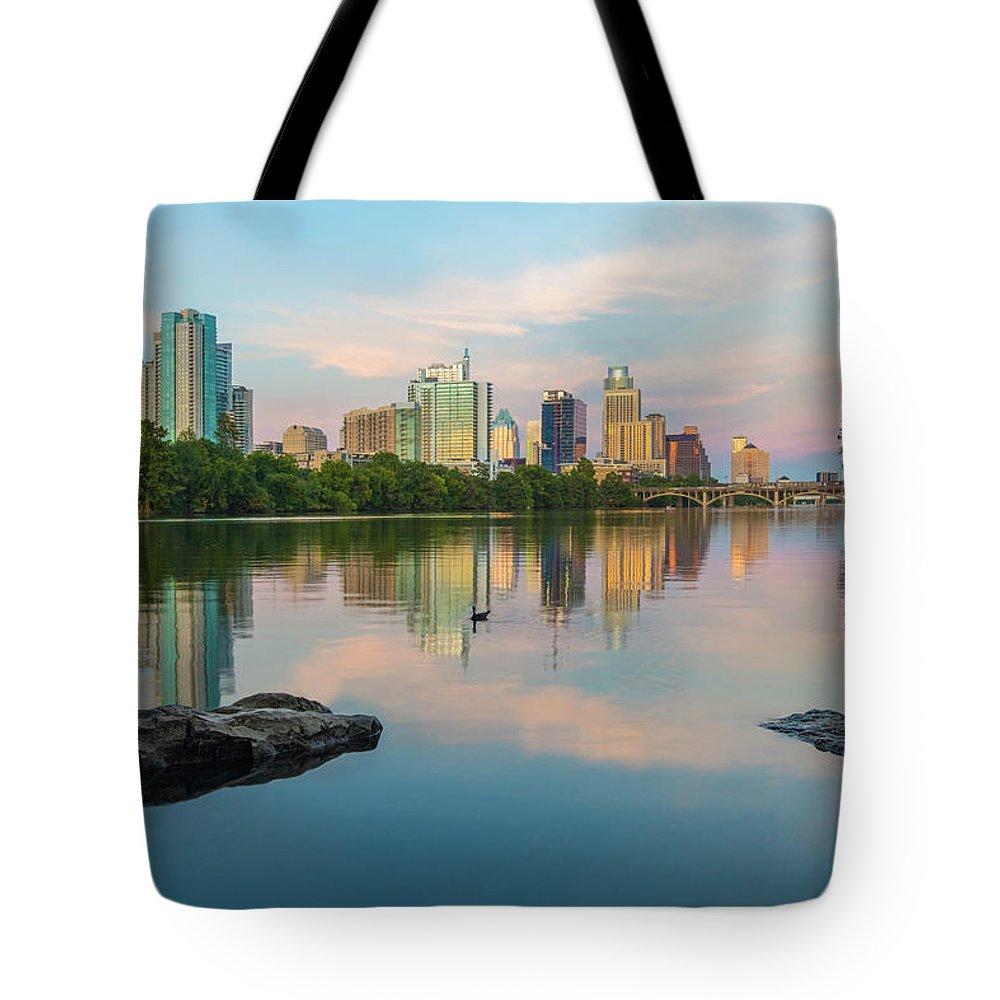Austin Skyline Tote Bag featuring the photograph Downtown Austin Texas Skyline 2 by Rob Greebon