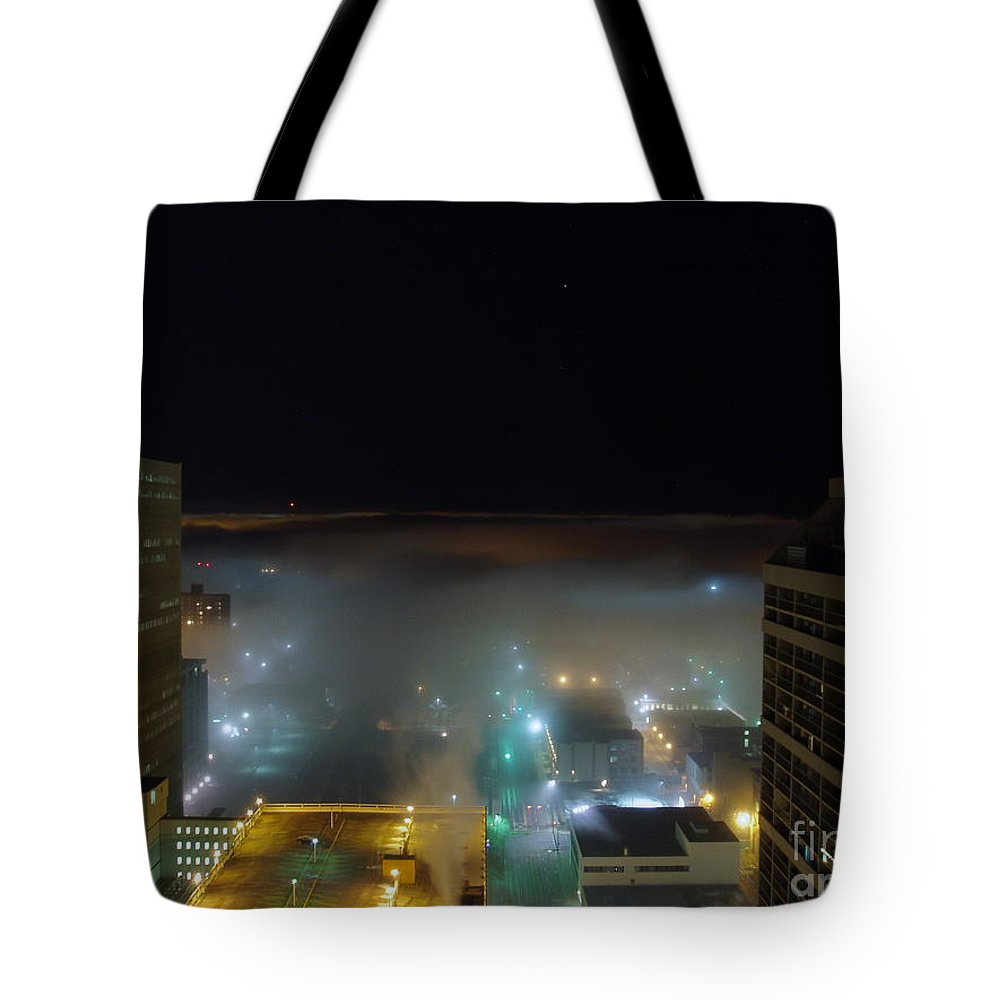 Photograph Tote Bag featuring the photograph downtown Calgary2 by Seon-Jeong Kim