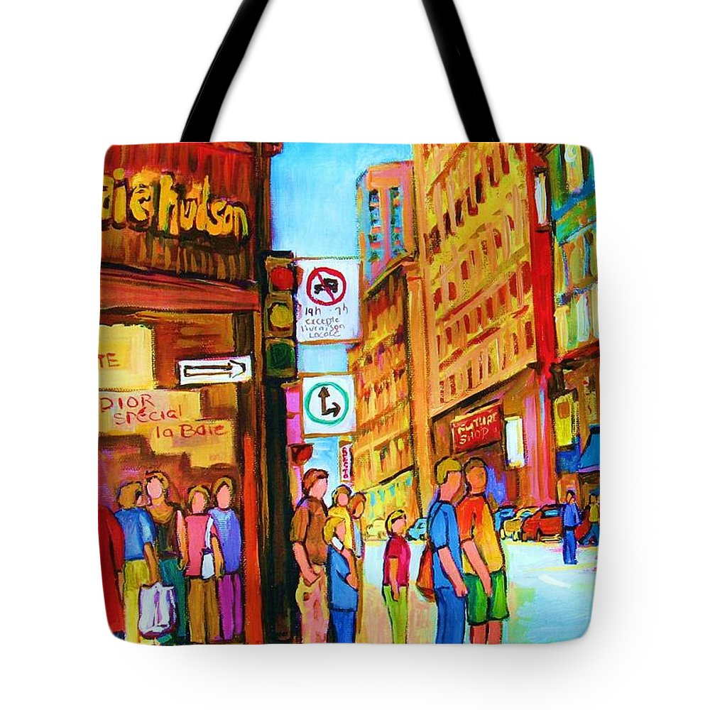 Cityscape Tote Bag featuring the painting Downtown by Carole Spandau