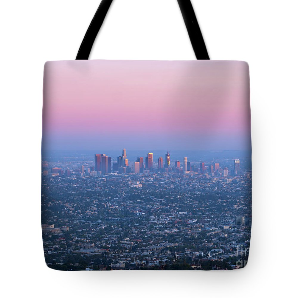 Los Angeles Tote Bag featuring the photograph Downtown Los Angeles Skyline At Sunset by Konstantin Sutyagin
