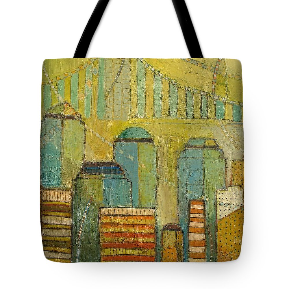 Tote Bag featuring the painting Downtown Manhattan by Habib Ayat
