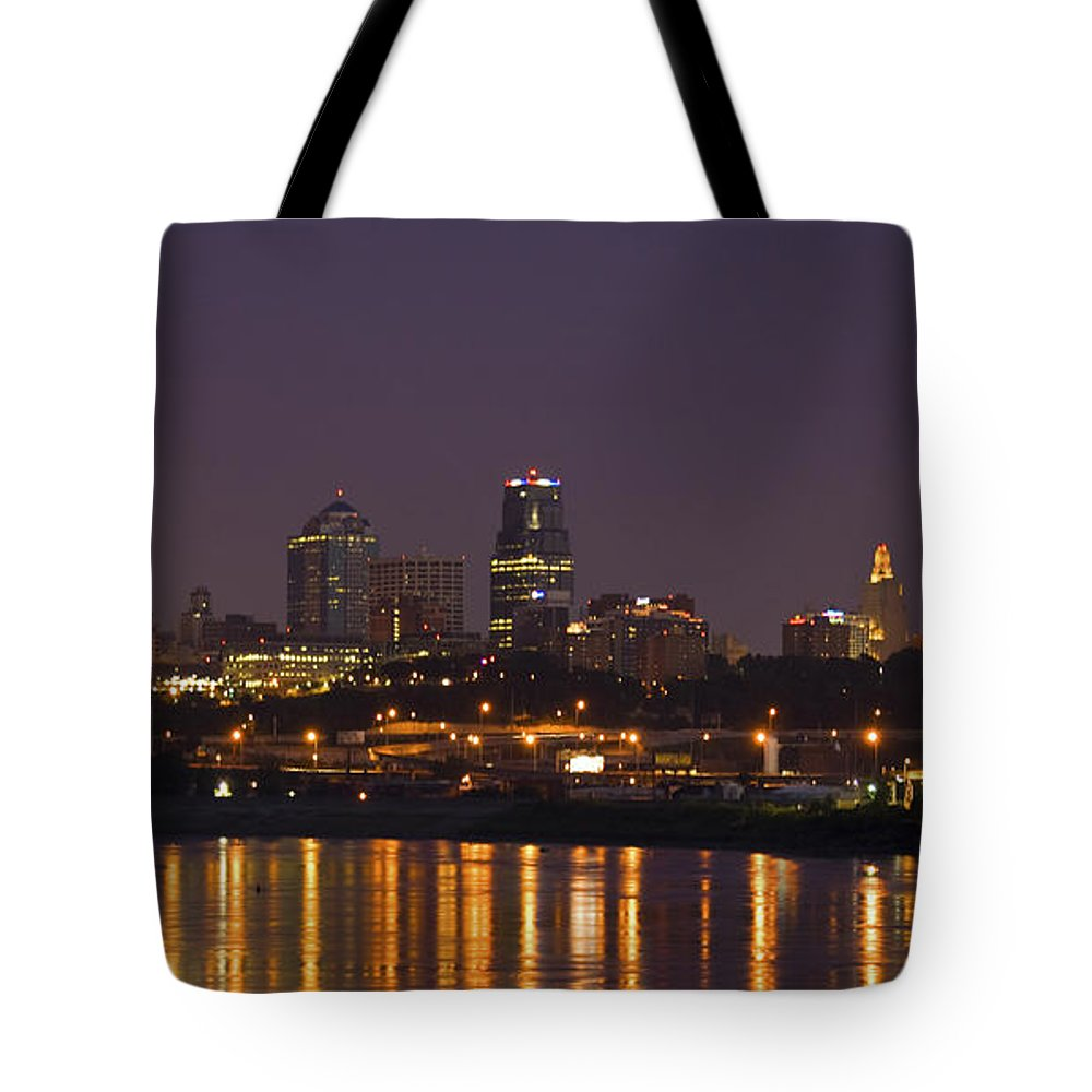 Kansas City Tote Bag featuring the photograph Downtown Reflections by Crystal Nederman