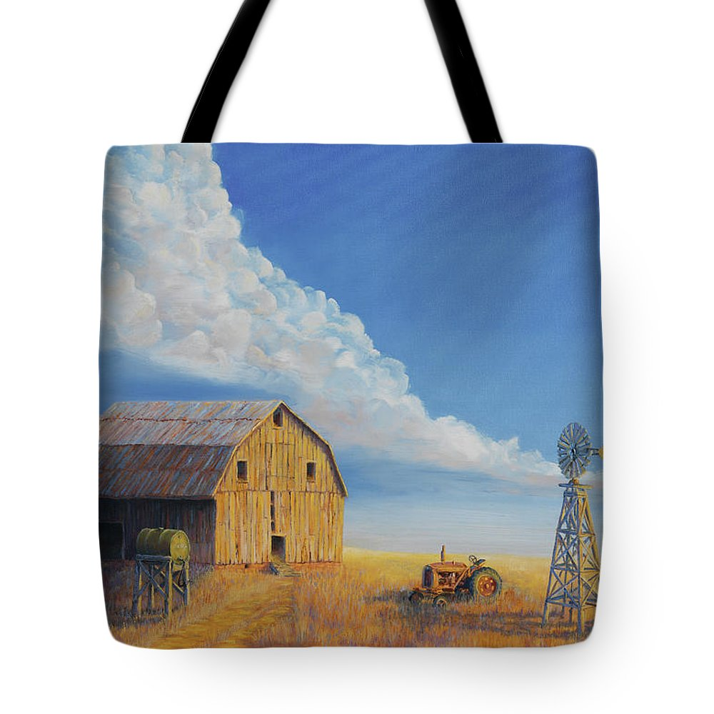 Barn Tote Bag featuring the painting Downtown Wyoming by Jerry McElroy