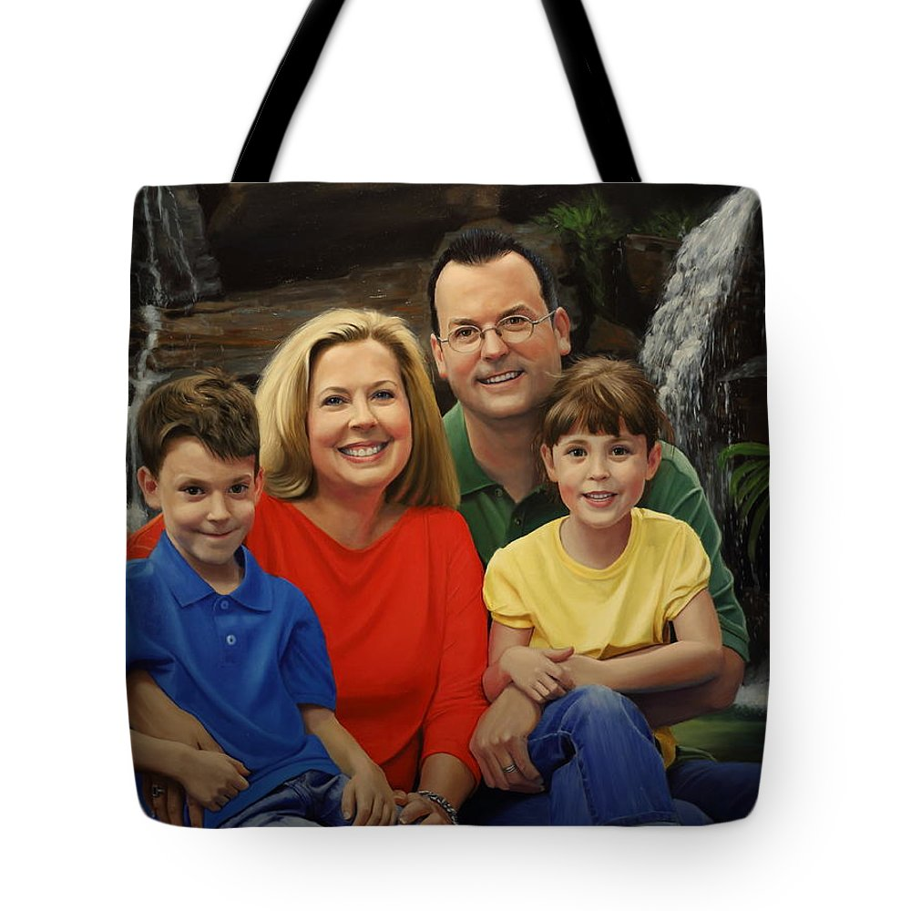 Family Portrait Tote Bag featuring the painting Dr. Devon Ballard And Family by Glenn Beasley