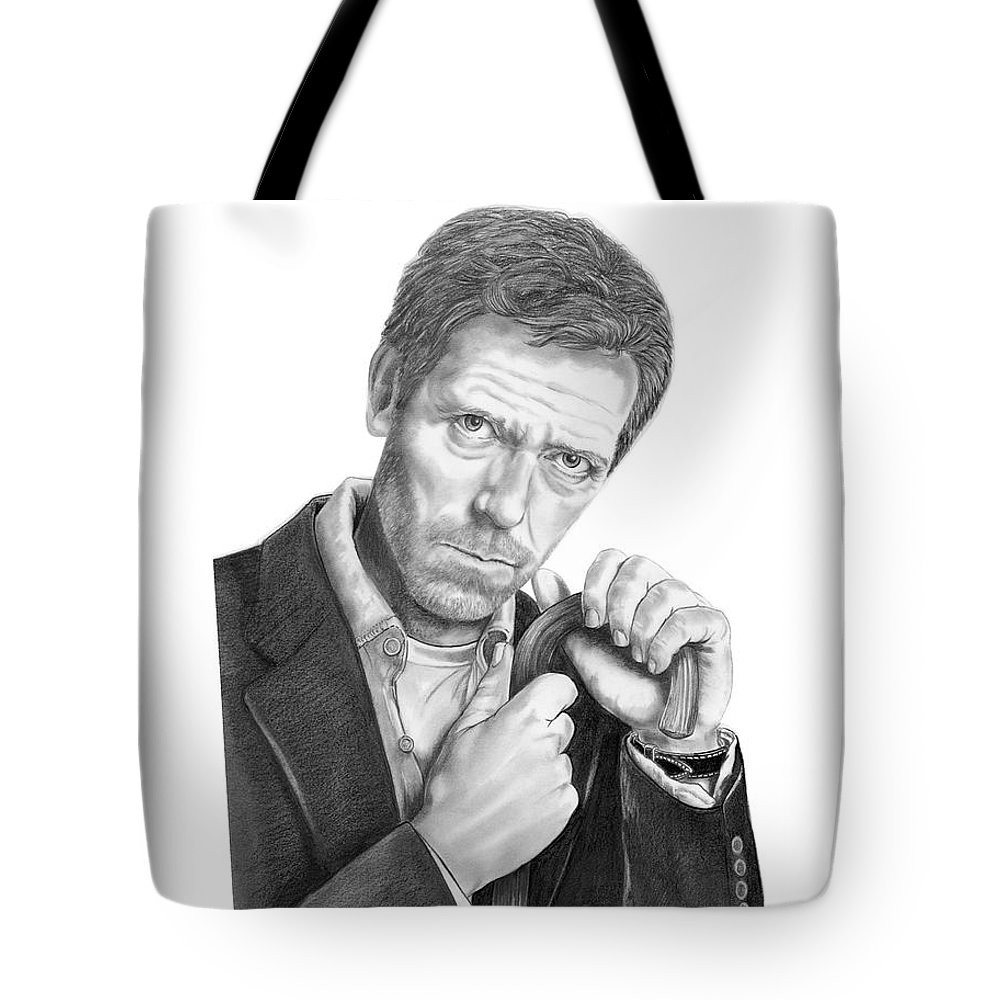 Drawing Tote Bag featuring the drawing Dr. House Hugh Laurie by Murphy Elliott