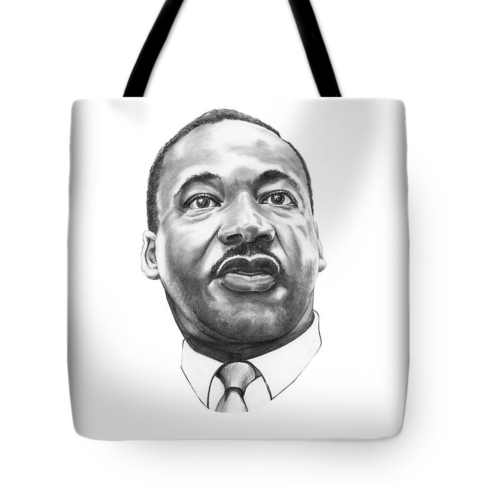 Portrait Tote Bag featuring the drawing Dr. Martin Luther King by Murphy Elliott