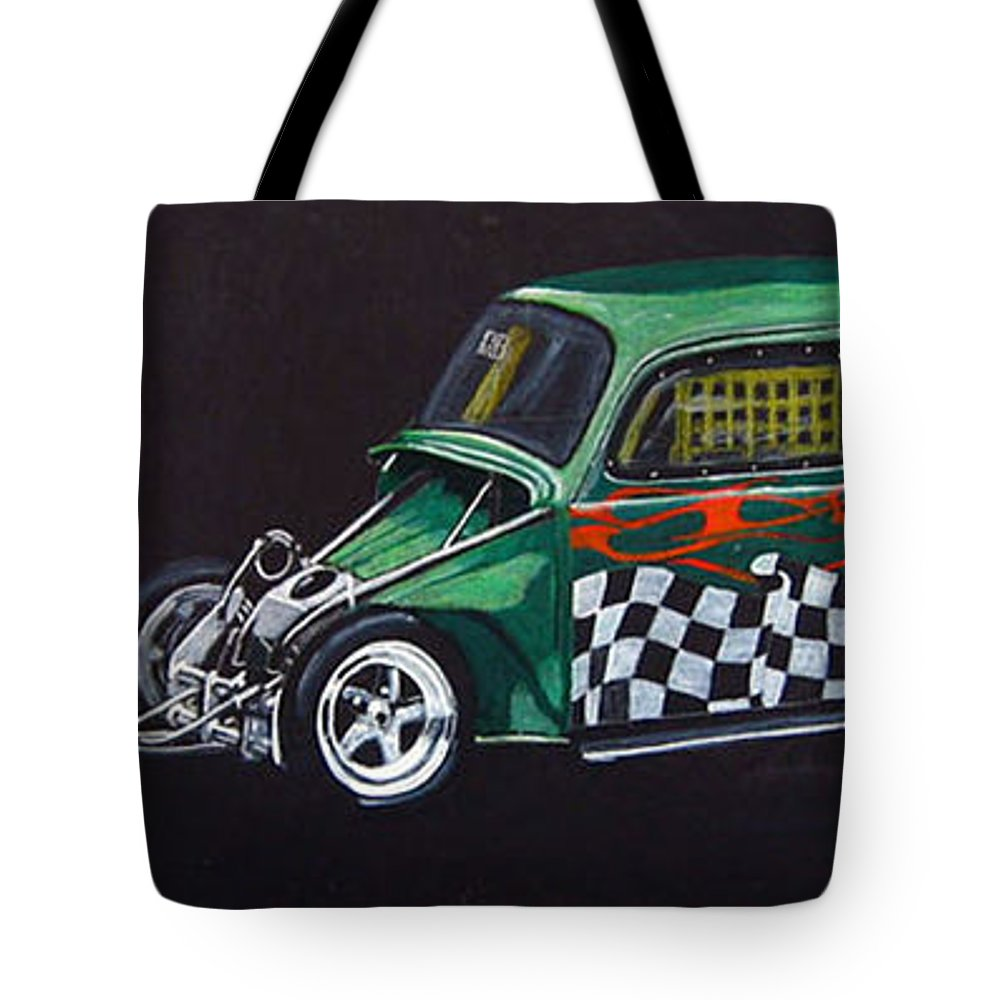 Vw Tote Bag featuring the painting Drag Racing Vw by Richard Le Page