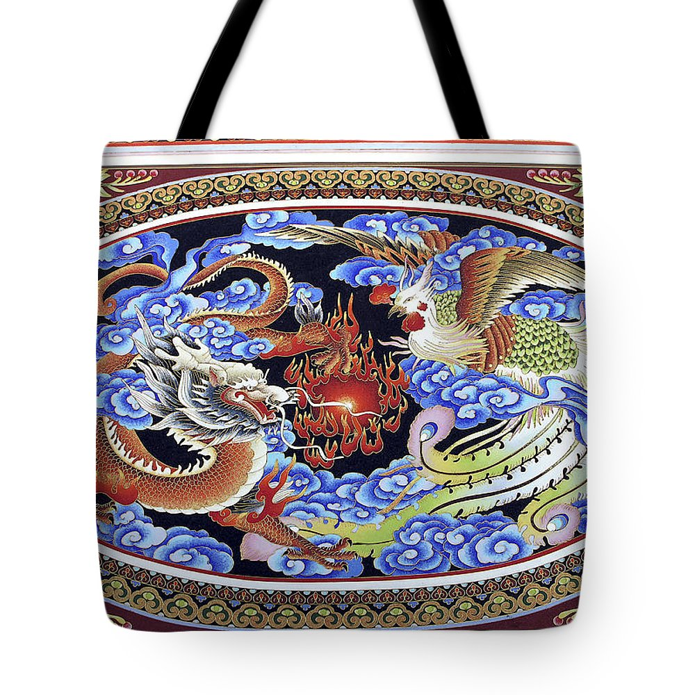 Vibrant Painting Tote Bag featuring the photograph Dragon And Bird by Sally Weigand