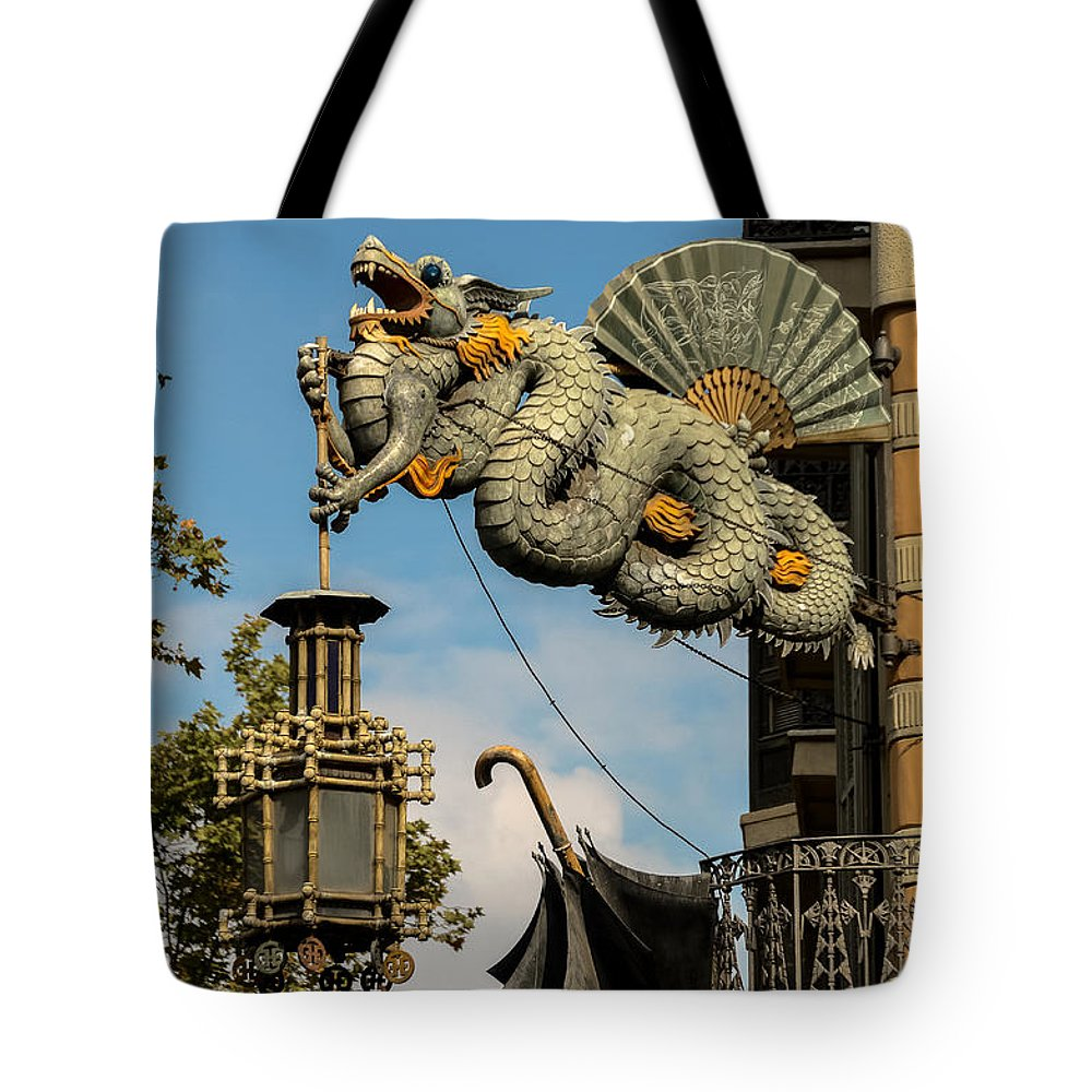 Photography Tote Bag featuring the photograph Dragon And Umbrella Sing In Barcelona by RicardMN Photography