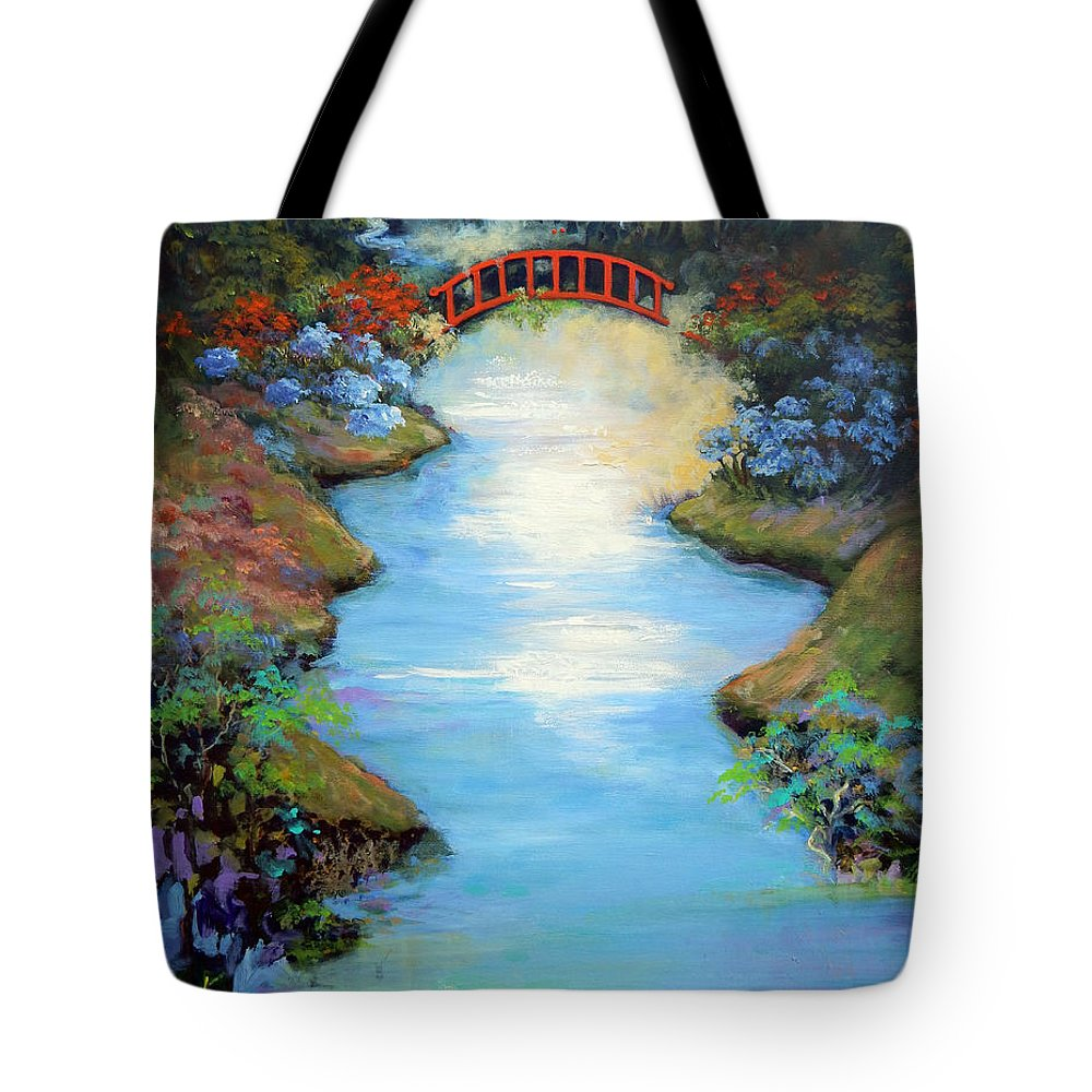 Streams Tote Bag featuring the painting Dragon Bridge by Caroline Patrick