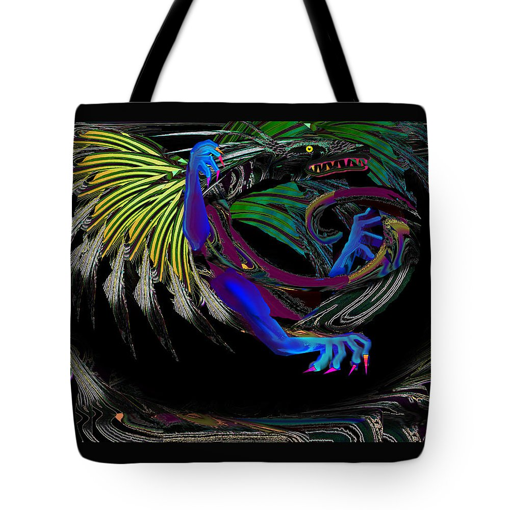 Dragon Tote Bag featuring the digital art Dragon Flying by XERXEESE Color Schemes