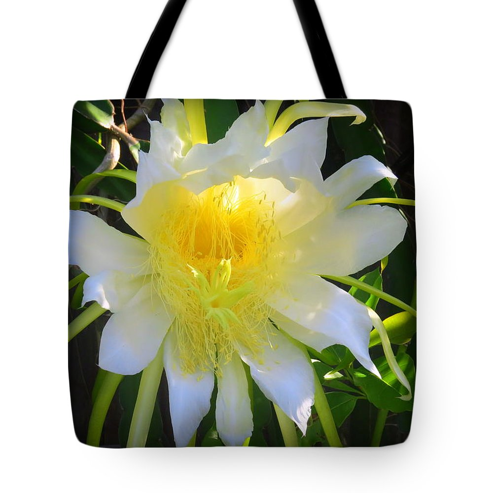Nature Tote Bag featuring the photograph Dragon Fruit Flowering by WanderBird Photographi