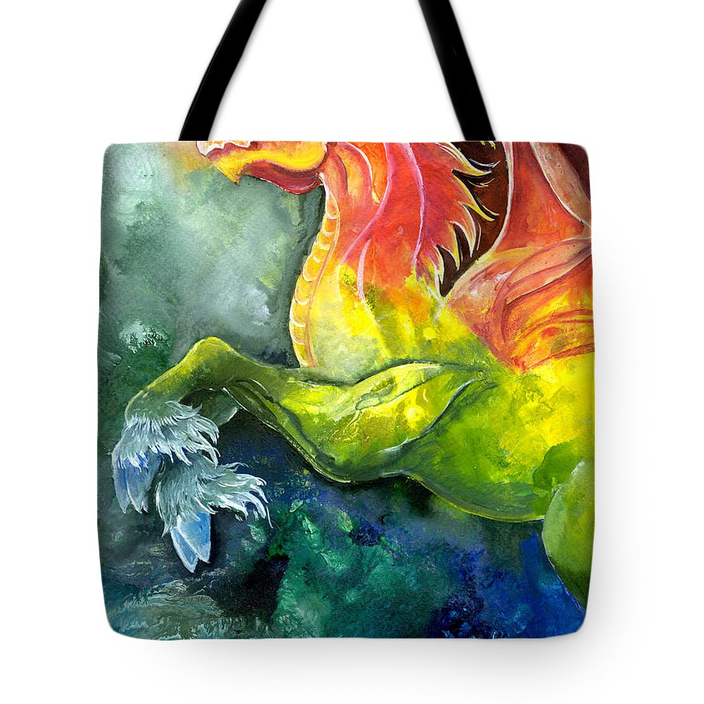 Fantasy Art Tote Bag featuring the painting Dragon Horse by Sherry Shipley