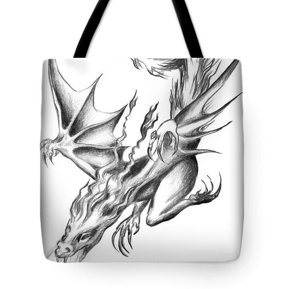 Dragon pencil drawing tote bag for sale by sofia metal queen